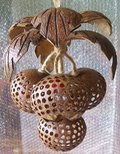 Hanging Lamp Wooden Coconut Shell Chandelier Swag Wood Fruit Lanterns Ceiling