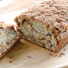 This cinnamon swirl banana bread recipe is simple yet good. Cinnamon sugar was spread in the center and sprinkled on top.