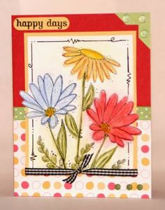 """This is a stamped image that I colored awhile ago and just got around to making a card out of.  There is crystal effects on the center of the flowers and the """"fern type"""" leaves.  TFL!"""