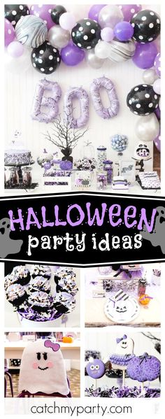 Don't miss this Boo-tiful Ball Ghoul's Night Out! The dessert table is amazing!! See more party ideas and sahre yours at CatchMyParty.com #halloween #halloweenparty