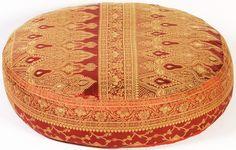 Red Sunderi Sari Round Floor Pillow