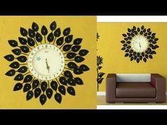 DIY Floral Designer Wall Clock/Diy wall clock/Wall Decor & Art/Room Decor/art my passion 18 Handmade Wall Clocks, Handmade Wall Hanging, Unique Clocks, Paper Wall Art, Diy Wall Art, Wall Art Decor, Room Decor, Clock Craft, Diy Clock