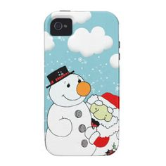 Winter, Santa Claus and Snowman Case-Mate iPhone 4 Covers