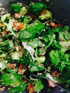 Quinoa & bulgur green salad with lemon and olive oil. Add a bit tomatoes and cucumbers.