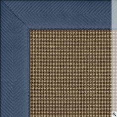 Sisal Sahara Rug Border Cotton Herringbone Blue