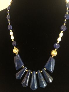 Royalty Blue- Lapis Lazuli and fresh water pearl necklace with Gold accents
