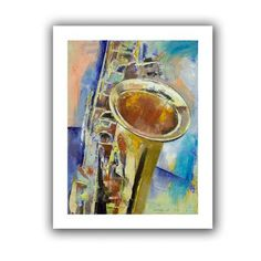 """ArtWall Saxophone' by Michael Creese Painting Print on Rolled Canvas Size: 28"""" H x 22"""" W"""