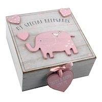 Personalised Baby Girl Elephant Keepsake Memory Box - Pink - wooden gift present Christening Newborn Baby Girl Gifts, Baby Gifts, Baby Keepsake, Keepsake Boxes, Baby Girl Elephant, Wooden Elephant, Baby Box, Baby Memories, Memories Box