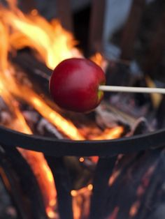 Roasting apples over an open fire. Autumn cozy