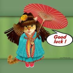 Greeting card good luck, wishes fulfillment, cute cat, nice, kawai