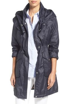 Laundry by Shelli Segal Hooded Waxed Cotton Coat available at #Nordstrom