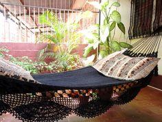 Black Magic Two, Single Hammock hand-woven Natural Cotton Simple Fringe