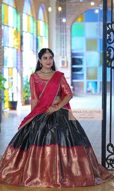 Lehenga Saree Design, Half Saree Lehenga, Pattu Saree Blouse Designs, Half Saree Designs, Bridal Blouse Designs, Saree Look, Lehenga Designs, Saree Dress, Sari