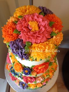 4 tiered buttercream floral wedding cake