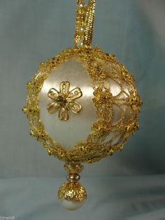 One of a Kind Handmade Christmas Tree Ornament Gold on White Medallions & Pearls