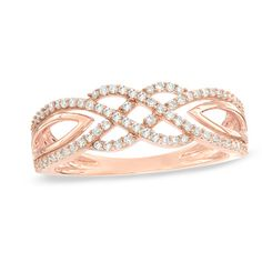 1/3+CT.+T.W.+Diamond+Intertwined+Ring+in+10K+Rose+Gold
