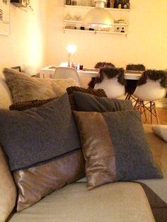 Sytt kuddar till stugan som så länge får tjäna soffan hemma. Härliga detaljer, alla med sin design men matchar bäst i trio.