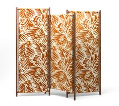 """Hermes """"partition"""" angled and foldable screen that can be used to section off spaces and enhance the vertical appeal of Hermes fabrics. Reverse covered with cinnamon H Decoration canvas fabric. Opened: L76.8"""" x H76"""" x P1.2"""" - Closed: L39.4"""" x H76.4"""" x W5.5"""""""