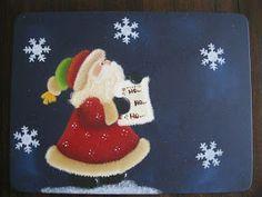 Mente Creativa: INDIVIDUALES NAVIDEÑOS EN COUNTRY Christmas Paintings, Very Merry Christmas, Snoopy, Santa, Scrapbook, Halloween, Paper, Pintura Country, Diy