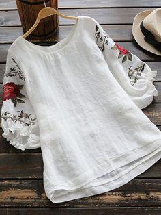 #SheIn - #SheIn Embroidered Rose Dip Hem Blouse - AdoreWe.com