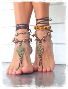 Woodland FAIRY BAREFOOT sandals Pea Green Tribal ANKLETS Gypsy Sandals Garden Wedding Filigree Teardrops Nature jewelry Naturalist Gaia