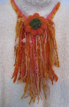 Stunning Long Locks Fiber from Namaste Farms done in a Tribal Necklace can be worn without the Flower~