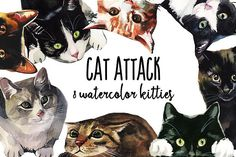 Cat Attack Watercolor PNG Collection by whiteheartdesign on @creativemarket