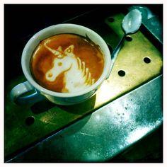 Awesome unicorn coffee art!