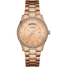GUESS Rose Gold-Tone Classic Style Dress Watch ($145) ❤ liked on Polyvore featuring jewelry, watches, rose gold tone jewelry, dress watches, rose gold tone watches, guess jewelry and guess watches