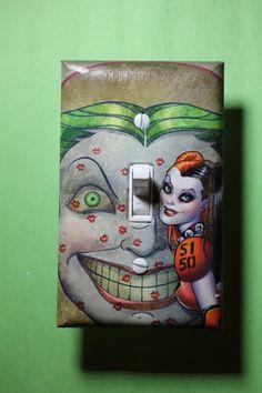 Harley Quinn Joker Batman Light Switch Plate by ComicRecycled