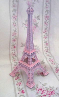 "Vintage Shabby Pink Mini 5"" Eiffel Tower from Paris France Chic Souvenier Home Decor Collectible Figure"