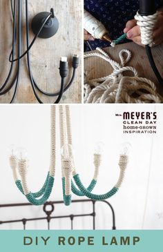 Ordinary lamp + rope = cool and crafty chandelier. Make this simple DIY from Paul Lowe and add a decorative touch to your bedroom, dining room or any room in between!