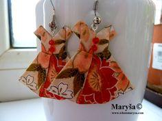 Orange Origami Dress earrings Dress dangle earrings Washi earrings  Japanese Dress with flowers Gift for her Romantic Gift Idea Minimalistic by MarysaArt on Etsy