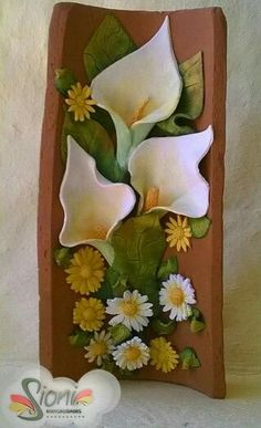 Hermosas Clay Wall Art, 3d Wall Art, Mural Art, Polymer Clay Kunst, Polymer Clay Crafts, Clay Projects, Projects To Try, Decoupage, Diy And Crafts