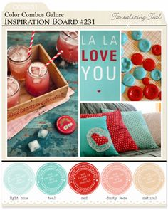 Color Combo Challenge #231: lt blue - teal - red - dusty rose - natural ; #colorcombosgalore ; #CCG231