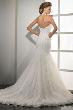 Mermaid/Trumpet Lace Halter Natural Waist Chapel Train Wedding Dress - Dress2015.com