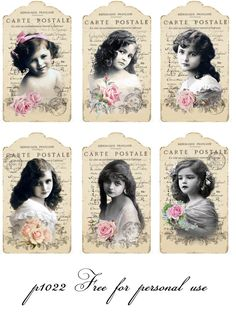Vintage girls tags Digital collage Free for personal use. Images Vintage, Vintage Tags, Vintage Labels, Vintage Ephemera, Vintage Girls, Vintage Pictures, Vintage Children, Printable Vintage, Decoupage Vintage
