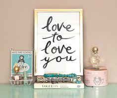 Typographic Print - Hand Lettering - LOVE To Love You -  Illustration Print  - Love Quote - Black and White - Romantic
