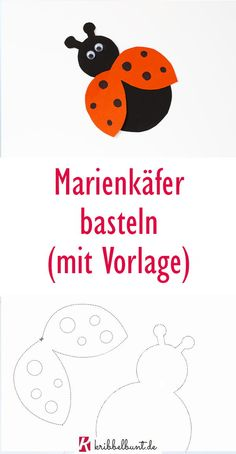 Marienkäfer basteln mit Kindern mit Vorlage Ladybugs tinker with children in spring with template Felt Christmas, Christmas Ornaments, Winter Crafts For Kids, Ladybug, Kids Rugs, Diy Crafts, Templates, Activities, Children