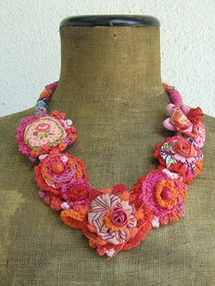 Been obsessed with handmade fabric/fiber jewelry lately.