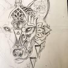 Resultado de imagem para geometric tattoos wolf