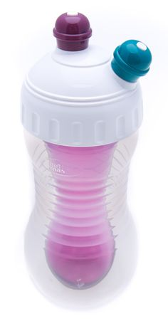 2 Drinks Cooler Cup - Product design and graphics work for dual chamber drinks cup with optional freezer core to chill outer bottle and provide 2nd chilled drink.
