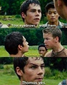 Image via We Heart It https://weheartit.com/entry/166982766/via/19504270 #cute #eyebrows #funny #guys #lol #thomas #themazerunner #dylano'brien