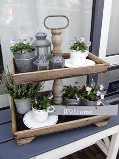farmhouse and country decor Porch Decorating, Decorating Tips, Porch And Balcony, Tiered Stand, Country Farmhouse Decor, Rustic Wall Decor, Tray Decor, Home Decor Accessories, Sweet Home