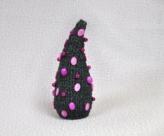 Yarn Christmas tree Handmade Bells, beads, nacre Winter gift Decorated wool Christmas table decor Standing Xmas tree Green Pink Knitted OOAK - pinned by pin4etsy.com