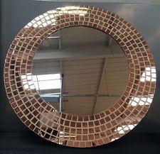 BNWT Chic Modern Moroccan Style Round Rose Gold Mosaic Frame Mirror NEW Bathroom
