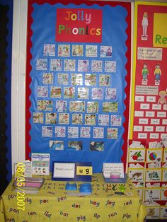Jolly Phonics display in Class Displays, School Displays, Classroom Displays, Classroom Ideas, Teaching Letters, Primary Teaching, Kindergarten Literacy, Phonics Display