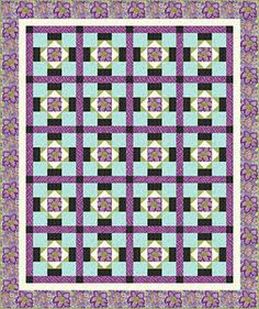 """Out on the Town Quilt Pattern  by Connecting Threads-this basic yet beautiful quilt. The single block construction features squares and Flying Geese with sashing tying everything together. Techniques: piecing Skill level:easy 72"""" x 86"""" FREE-Download-"""