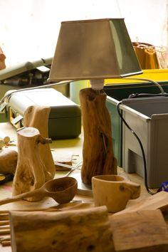 Lamp olijfhout