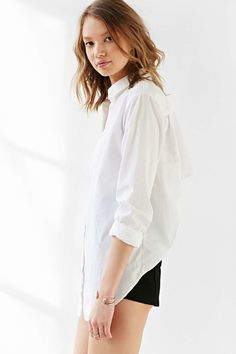 Streets wind back with drawstring design white cotton shirt